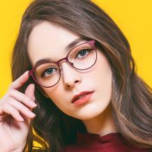 HAN COLLECTION不锈钢光学眼镜架-高贵深红(HN41123M C05)