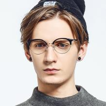 HAN合金PC光学眼镜架-时尚黑金(HN49380-C01)