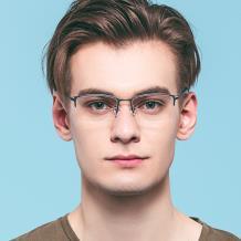 HAN纯钛光学眼镜架-经典哑黑(HN49368-C01)