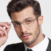 HAN 不锈钢光学眼镜架-睿智枪灰(HD49221-C3)