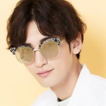 HAN SUNGLASSES PC防UV太阳眼镜-黑灰框浅金片(HN55051 C3/M)