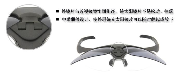 outdo 高特近视眼镜架带翻盖偏光太阳镜: [套镜介绍] 双层眼镜,由偏光太阳镜片和近视眼镜组成 ,其特征在于太阳镜片和近视眼镜架的中梁连接在一起,外层偏光太阳镜片可以随时翻起或放下。本产品实用新型,携带方便,是一种简单活动式的双层眼镜,具有矫正视力和遮阳的双重功效。 [产品特性] 1、outdo高特品牌眼镜(套镜系列)偏光镜的中梁和近视眼镜架的中梁紧密连接在一起,使外层太阳镜片不易松动、掉落,能够非常稳定的固定在近视镜架上,使两者更好的融为一体,整体外表效果更加美观、自然; 2、独特前翻盖套镜,out